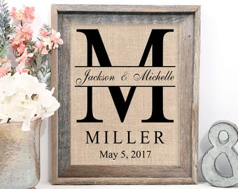 Personalized Last Name Gift - Wedding Gift, Bridal Shower Gift , Anniversary Print- Family Name Sign, Est Sign, Family Wall Art