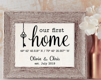 Our First Home Sign, GPS Coordinates with Key, Custom Print