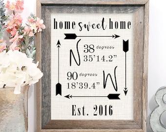 Home sweet home, Personalized Home sweet home sign, Home Sweet home wall decor, Home Sweet Home print, Home Sweet home burlap print