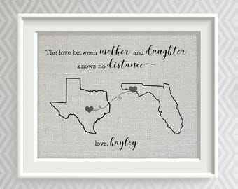 Social Distancing Gift, Mother Daughter Gift, Customize for Grandma, Grandpa, Grandparents, Any Family Member, Love Knows No Distance Gift