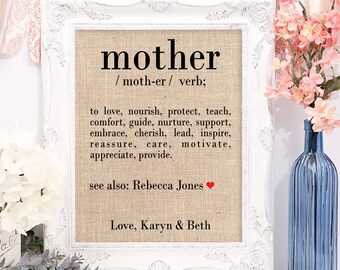 Definition of Mother, Mother's Day Gift on Burlap Fabric