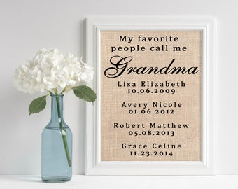 Personalized Grandma Gift   Burlap Print for Grandmother   Mothers Day Gift   Grandchildren Names Wall Art   Custom Rustic Sign