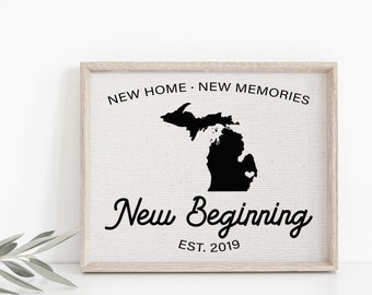 New Beginnings Sign, New Home Housewarming Gift, State Home Print