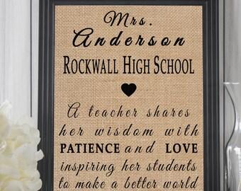 Custom Teacher Appreciation Gift, High School Teacher Gift, Burlap Print