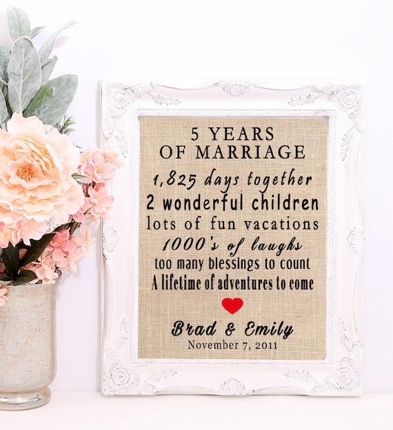 5 Year Wedding Anniversary 5 Year Anniversary Gift 5th Etsy
