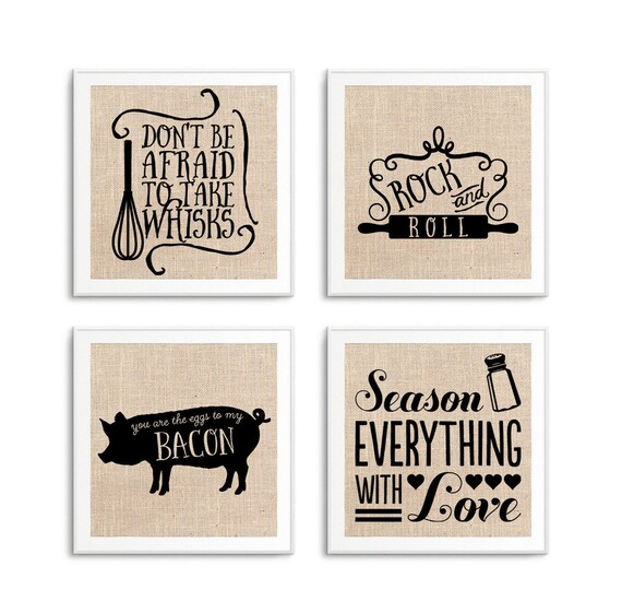 Funny Kitchen Signs Art Decor Set Of 4 Kitchen Quotes On Etsy