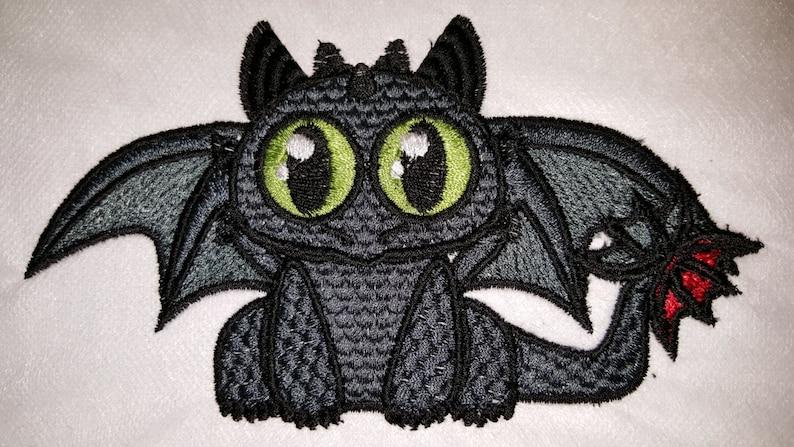 Chibi Like Toothless Inspired Machine Embroidery Design image 1