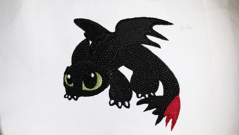 Pouncing Toothless Inspired Machine Embroidery Design image 0