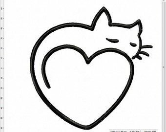 Sleepy Cat Heart Machine Embroidery Design