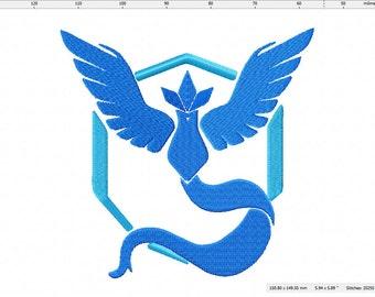 Pokemon Go Inspired Team Mystic Machine Embroidery Design
