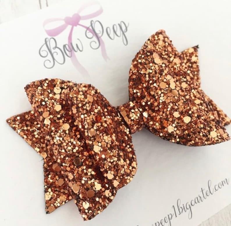 autumn hair bow girls hair bow hair bows Bronze glitter hair bow glitter hair bows copper glitter hair bow glitter bow bows for fall