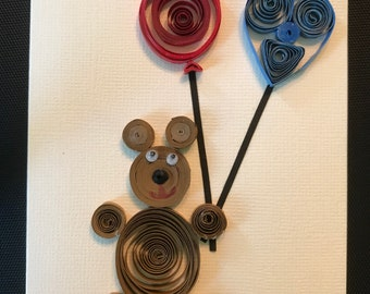 Quilled Bear Delivers Birthday Balloons