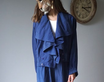 e3d152f7929e Blue Silk Two Pieces Set 80s Vintage Pant Suit