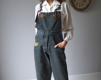 e4f13c8f6ff2 Denim Gray Green Overalls 80s Vintage Tapered Jeans Overalls