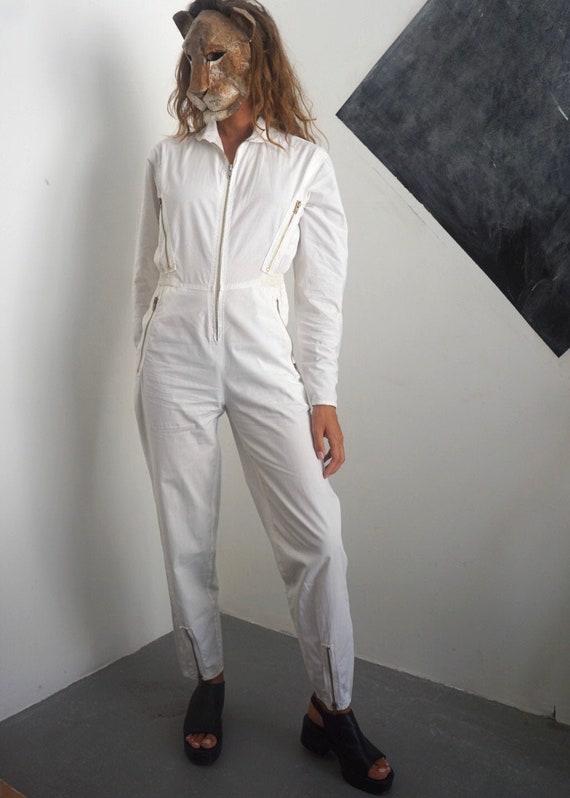 80s White Cotton Jumpsuit / Vintage Zipper Long Sl