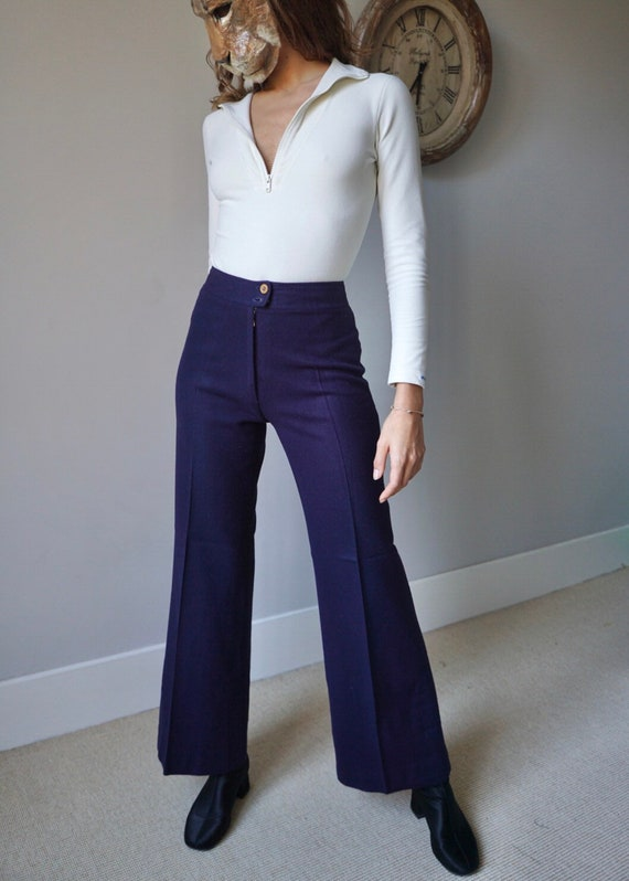 70s Navy Wool Bell Bottoms Pants / Vintage Iconic