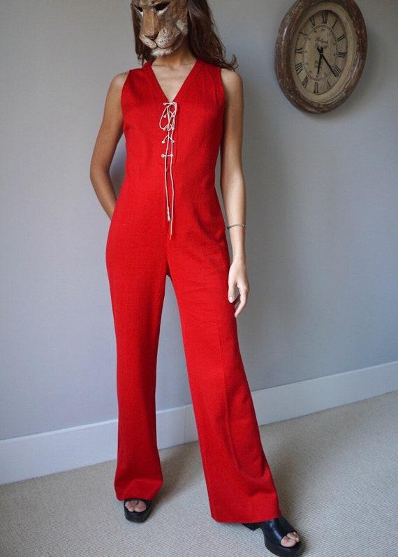 70s Red Sleeveless Jumpsuit / Vintage Retro Mod Hi