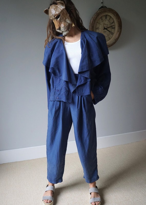 Blue Silk Two Pieces Set 80s Vintage Pant Suit W28 - image 1