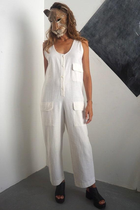 80s Off White Cotton Jumpsuit / Vintage Sleeveless