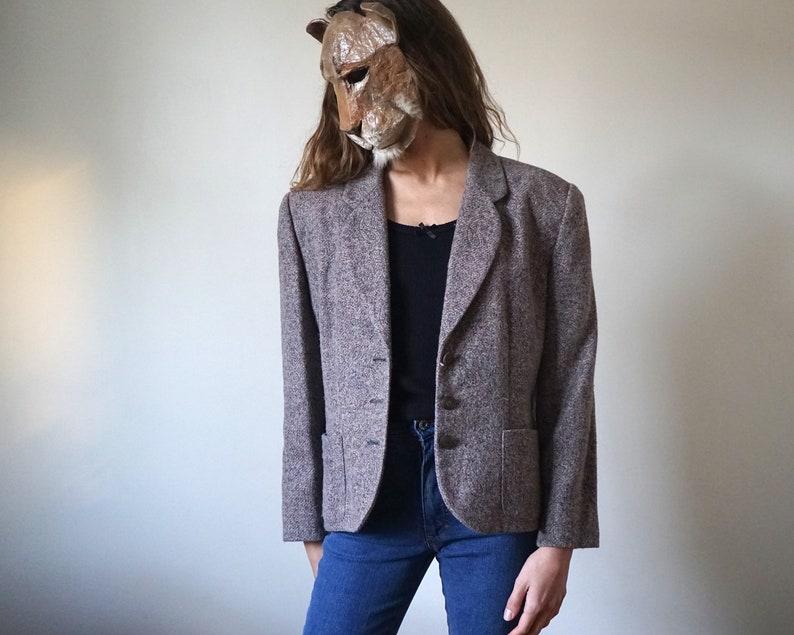 Speckled Gray Wool Blazer Suit Jacket  Vintage Winter Paisley Print Tailored Blazer