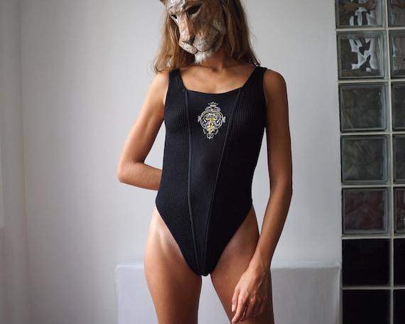 80s Black Satin Ruched Swimsuit / Vintage Deadstoc