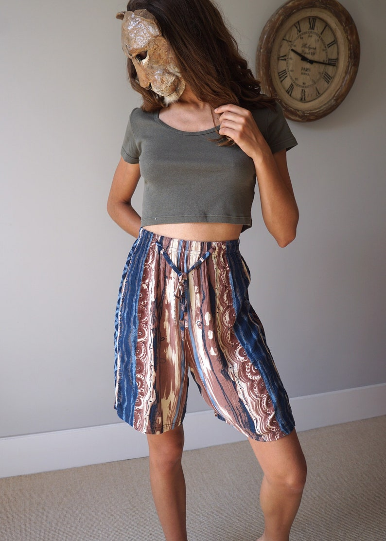Boho Print Culottes 90s Vintage High Waist Pleated Shorts
