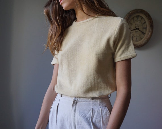 70s Beige Terry Cloth T-shirt / Vintage Smooth Ter