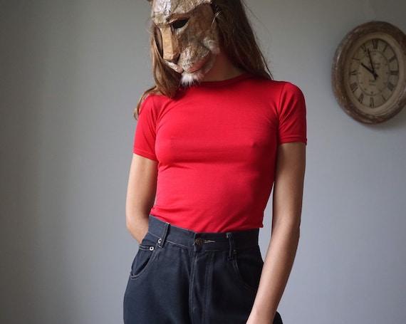NOS 60s Nylon Tee Vintage Red Tshirt