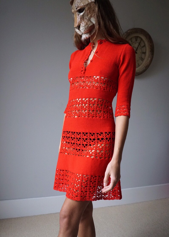 70s Red Crochet Knit Mini Dress