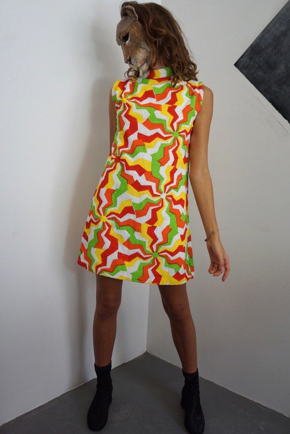 70s Terry Cloth Painted Print Dress / Vintage MOD