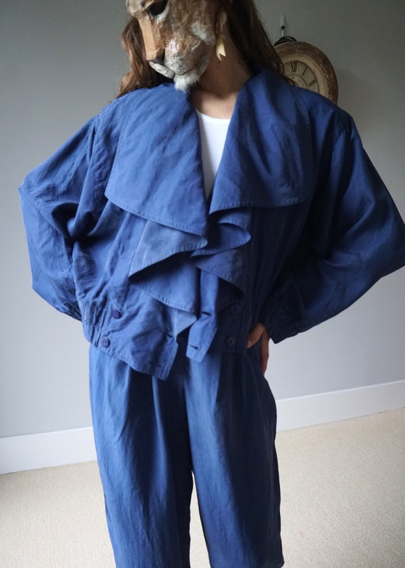 Blue Silk Two Pieces Set 80s Vintage Pant Suit W28 - image 2