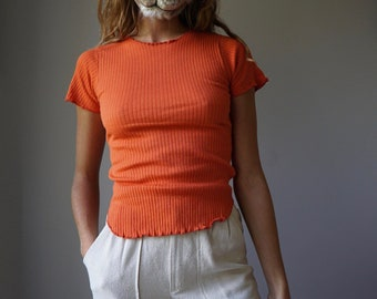 NOS 70s Terracotta Ribbed Cotton Tee / Vintage Orange Frills Fitted T-Shirt