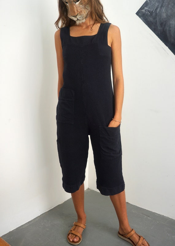 Vintage Cropped Waffle Faded Black Easy Romper / W