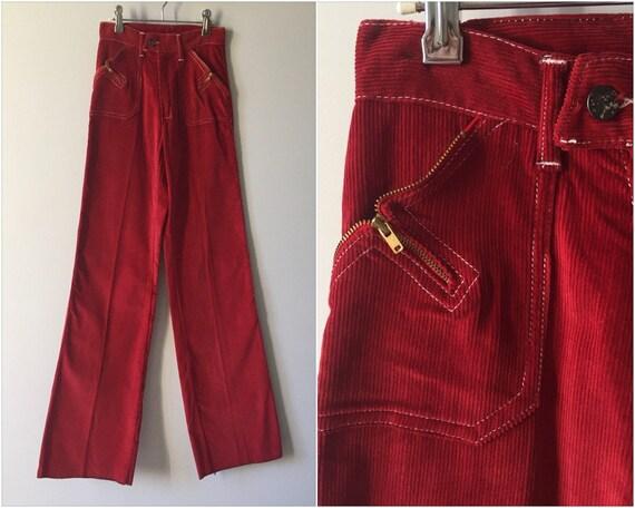 70s Maroon Corduroy Bell Bottoms / Vintage Red Bur