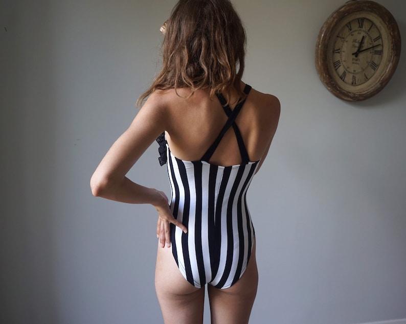 Black White Striped Bodysuit 90s Vintage Lace Satin Rose Romantic Bodysuit