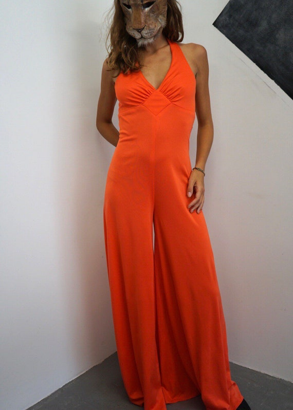 70s Coral Evening Jumpsuit / Vintage Red Sleeveles