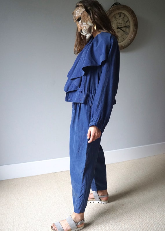 Blue Silk Two Pieces Set 80s Vintage Pant Suit W28 - image 6