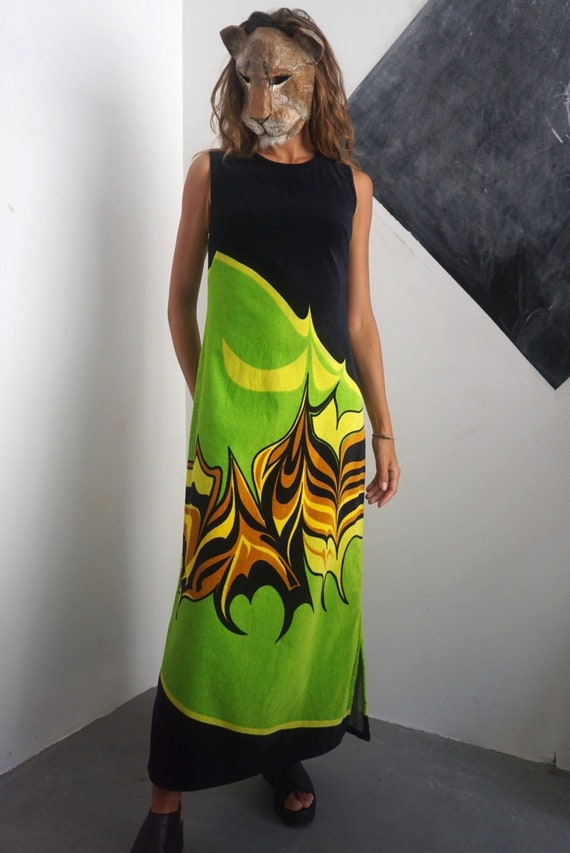 70s Terry Cloth Maxi Dress / Vintage Neon Bright T