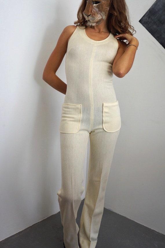 70s Ivory Knit Jumpsuit / Vintage Mod Off-White Sl