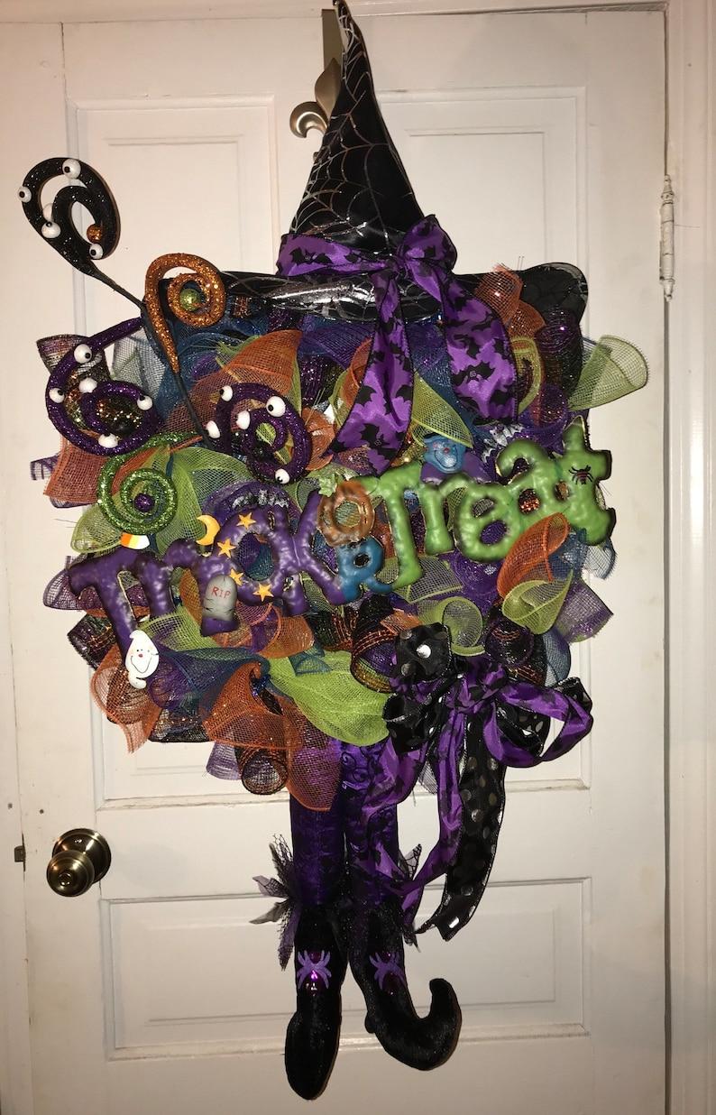 Witch Broom Tinsel Purple Halloween Hanging Decoration Decor Wall