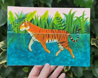 Swimming Tiger, a quality A5 giclee print, wild swimming tiger from an original oil painting