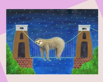 Clifton Suspension Bridge, A6 greetings Card, Sleepy Sloth bridge, sloth lovers and Bristol UK! Available plastic free,