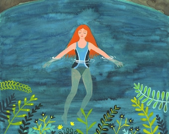 Night Swimming, a quality A4/A5 signed giclee print. A lady swims in a calm lake surrounded by mountains under the moon and stars