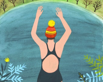 Wild Swimming Woman, bobble hat swimmer, a quality A4/A5 signed giclee print, for those who like wild swimming and the great outdoors