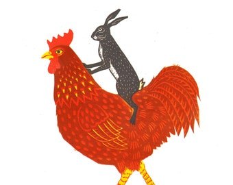 Hare and chicken, a signed, limited edition reduction lino print, a lovely hand printed linocut of a hare riding a chicken, and why not?