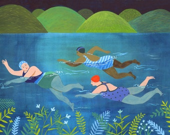 Swimmin Wimmin, a quality A4 and A5 signed giclee print, wild swimming, swimming out in the wilderness, women cold water swimming