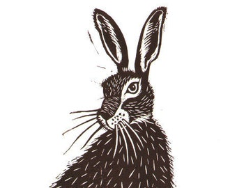 "Handmade lino print ""Hare"" on A4 cartridge paper 300gsm. Signed by Laura Robertson"
