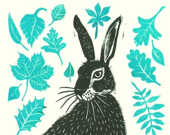 "Handmade lino print ""Hare"" on off-white Somerset paper, please choose a colour (see pictures). Signed by Laura Robertson"