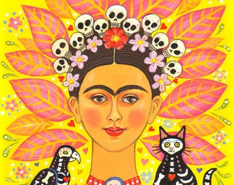 """Signed A4 Limited Edition Giclee Print """"Frida And Friends"""" lovers of Frida Kahlo and the Mexican Day Of The Dead! By Laura Robertson"""