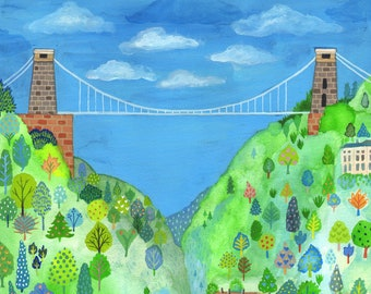 "Signed A4 Giclee limited edition print ""Suspension Bridge"", for those who love Bristol UK! By Laura Robertson"